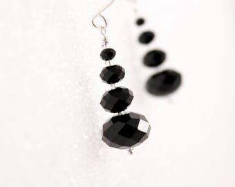 Jet Black Crystal Earrings, Swarovski Rondelles, Stacked, Dangle