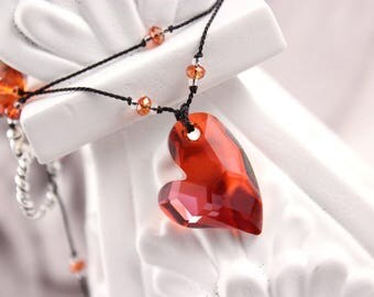 Red Magma Heart Necklace, Black Knotted Silk Cord, Swarovski Crystals