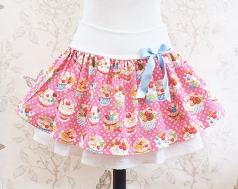 Cupcakes kawaii skirt , jersey stretch belt , hot pink japanese fabric with pastries and dots.