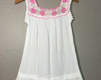 Vintage 70's Crochet Gauze Child Girls Dress Boho Toddler Like New!