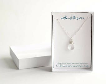 Delicate Birthstone Necklace - Personalized Mother of Groom Gift - Birthstone Wedding Necklace - From Bride to Mom - Birthstone Necklace