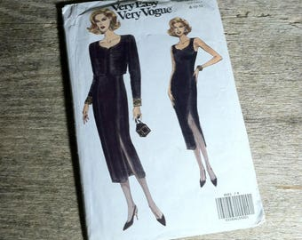1992 Very Easy Very Vogue Pattern 8551 Dress Size 8 10 12 /