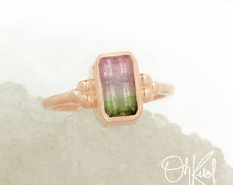 Watermelon Tourmaline Ring - Bezel Setting - Comfort Fit Band