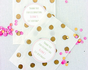 Personalised birthday favor bags, treat bags, gold dots, glassine bags, food bags