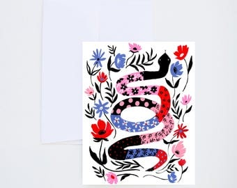 General / Friendship Greetings - Folk Snake - Blank Card - Painted & Hand Lettered Cards - A-2