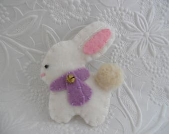Felt Bunny Brooch Purple Scarf Bell Wool Felted Coat Pin Christmas