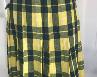 Vintage Yellow and Black Plaid Wool Kilt Skirt -- Size L