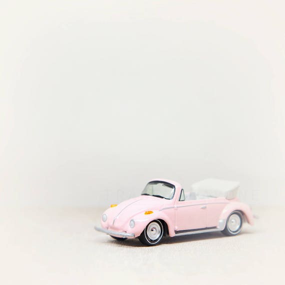 Pink VW Bug, Toy Photograph, Nursery Print, Girls Room, Wall Decor, Toy Car Photography, Nursery Decor Girl, Baby Girl, Whimsical Office Art