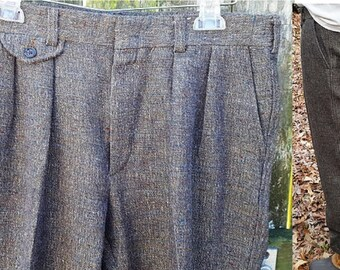 Mens Pants, 80s Pants, Tweed Pants, Vintage Pants, Brown Pants, Huntington Pants, Cuffed Pants, Dress Pants, Mens Tweed Pants, Pants Size 35