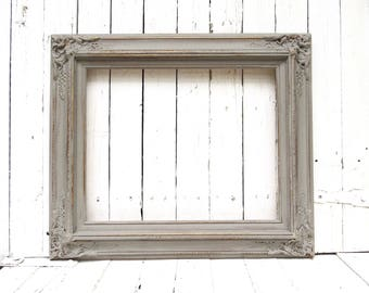 French Cottage Frame, Gray Frame, Vintage Frame, Rustic Chic Frame, Ornate Frame, Shabby Cottage Decor, 16x20 Frame, Weathered Frame