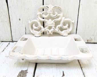White Soap Dish, French Inspired Decor, French Parisian Chic, Shabby Cottage Chic, Kitchen Decor, Toothbrush Holder, Bath Decor