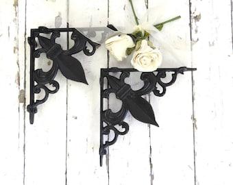 Black Shelf Corner Brackets, Fleur De Lis Decor, French Cottage, Paris Apartment, Cottage Chic, Ornate Wall Brackets, Architectural Detail