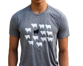 Sheeps| Soft Lightweight T Shirt| Black sheep| art by MATLEY| men's unisex Tee| Crew and V-neck| Animal| Farm| Great gift ideas.