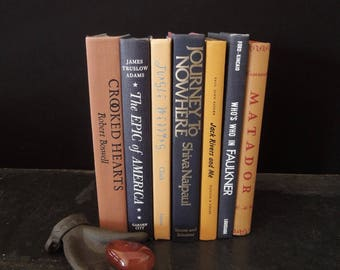 Used Books by Color - Dark Books for Decor - Clay Coral Black - Bookshelf Decor - Den Office Elegant Library