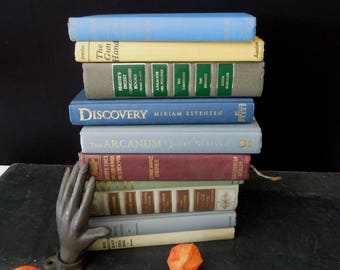 Book Stack Rustic - Mixed Colors Topical Texts and Novels - German and English - Vintage Books for Decor