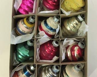 1950's Glass Shiny Brite Retro Christmas Ornaments - Box of 12