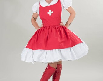 Nurse Dress and Apron Halloween Costume Red  White Cosplay Animie Gothic Lolita Custom Size including Plus Sizes Cute Modest High Quality