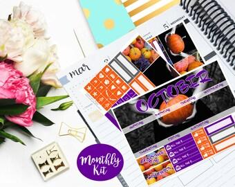 October Monthly Kit Planner Vertical EC Erin Condren Happy Planner Kikki K Vintage Sticker Glossy - Stick to Your Story