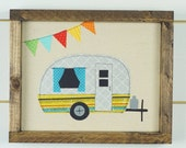 Happy camper sign, camper wall art, framed art, framed picture, camping decor, travel trailer decor, wood signs, wall hanging, happy camper