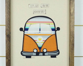 VW Bus wall art, framed picture, retro wall decor, VW Van decor, framed picture, framed art, wood signs, wall hanging, girls room decor,