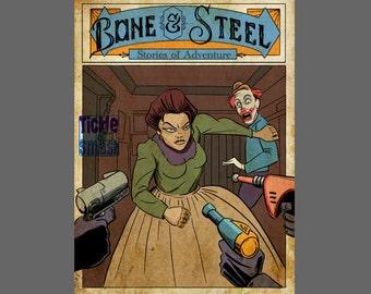 Comic Book Card,Geek Card,Western Card,Adventure Card - Bone And Steel Stories of Adventure, Greeting Card, Blank Card,Snail Mail  Bad Clown
