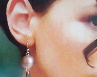 Mauve Glass Bead Dangle Earrings, Mauve Earrings