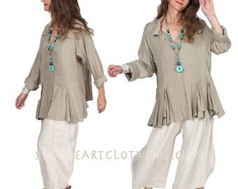 Sunheart Taos Ruffle Shirt Blouse KHAKI op Boho Hippie Chic Resort Wear Casual Womens Wear Sml-2x