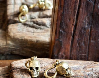 Skull Brass Ear Weights, Ear Stretchers, Tribal Jewellery, Brass earrings, Ear stretching weights, Brass ear weights