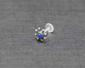 Silver flower tragus stud with turquoise or blue opal, Tragus piercing, Silver studs, Body piercing, Tribal jewellery, Lobe, Labret, Helix