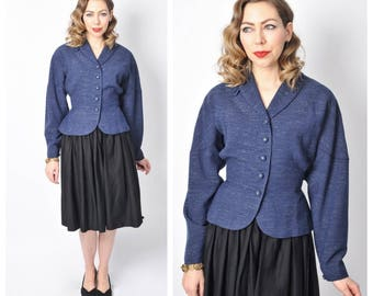 Vintage 1950's Navy Speckled Blazer Jacket/ 50's New Look Style Blazer Size Medium