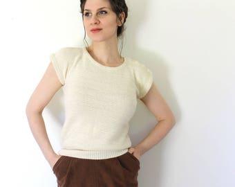 Vintage Angora Sweater Blouse / 1970s Sweater Blouse / 70s 80s Sweater Blouse / 70s Creamy White Oatmeal Angora Short Sleeve Sweater Blouse