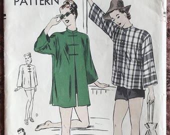 "Vogue 1940's Pattern # 5477 - Mandarin Collar Kimono Sleeve Coat - Long or Short Jacket, Coverup - Medium (Bust 34"" - 36"")"