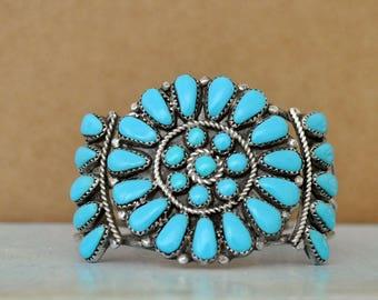 Vintage find, zuni blue turquoise teardrop shaped flower patterned sterling silver bangle bracelet, large sterling bangle,