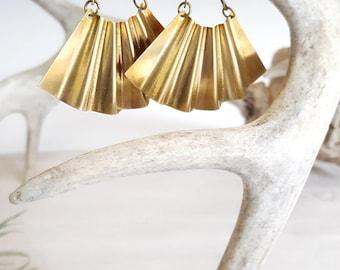 Large Statement Earrings Big Earrings Brass Earrings Fan Earrings Large Gold Earrings  Statement Earrings Dynamo