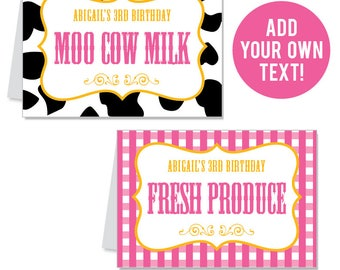 INSTANT DOWNLOAD Pink Vintage Farm Party Buffet Cards - EDITABLE Printable File