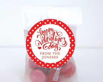 Valentine's Day Stickers - Happy Valentine's Day Calligraphy - Sheet of 12 or 24