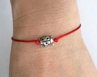Ladybug Bracelet, Ladybug Anklet, (many colors to choose)