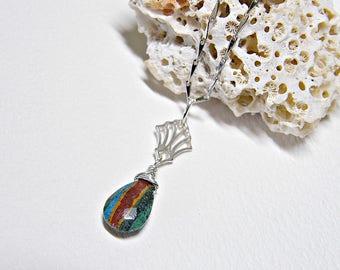 Rainbow calsilica necklace, rainbow necklace, striped necklace, multicoloured pendant, PETITE necklace, rare stone sterling silver necklace