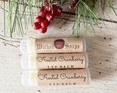 Frosted Cranberry Lip Balm -  Stocking Stuffer, Natural Lip Balm, Cocoa Butter Lip Balm, Beeswax Lip Balm, Holiday Lip Balm, Christmas