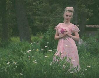 70s Sheer Floral Maxi Dress / Vintage Bridesmaid Dress / 70s Sheer Floral Dress / 70s Maxi Dress / Boho / Hippie / Long Dress / Bridesmaids