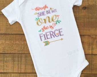 Though She Be But One She is Fierce Birthday Shirt - First Birthday Girl - Girls First Birthday Outfits - Wild One Birthday