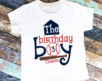 The Birthday Boy Baseball Themed Shirt or Bodysuit - Personalized with ANY Name and Age!