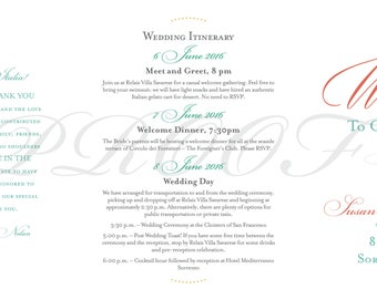 Custom Wedding Map with Itinerary --Invitation--Save the Date -- Gift Bag-- Positano, Italy