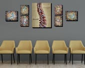 Chiropractic wall artwork neutral calming large print sets for office spine showing flexibility and calming colors for reception area framed