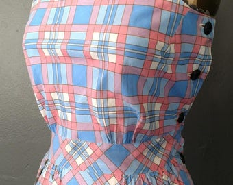 1940s Sweetheart Day Dress Ric-Rac Trim WWII Pinafore Sundress Deco Homefront Housewife