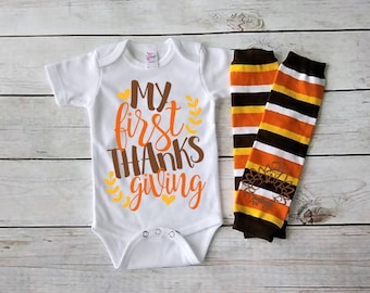 Babys First Thanksgiving outfit- Baby Girl First Turkey Day- Baby Boy First Thanksgiving-Baby Turkey Day- Newborn Fall Bodysuit