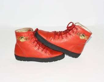 GIANNI VERSACE Couture High Top Sneakers Red Leather Medusa Head Booties 36 - Authentic -