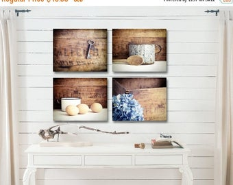 Farmhouse Kitchen Decor, Rustic Kitchen Wall Decor, Country Kitchen Wall Decor, Farmhouse Kitchen Art Set of 4 Prints Fixer Upper Decor