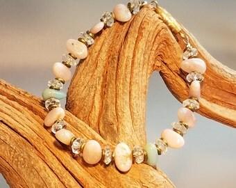 Peruvian Opal Bracelet, Pink Bracelet, Girls Bracelet, Women's Bracelet, Beaded Bracelet