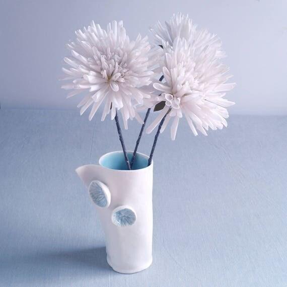POM POM vase white porcelain cylindrical vase hand made ceramic vase